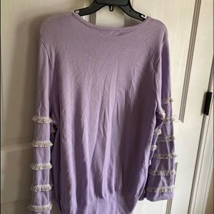 Lavender Ruffled Long Sleeve Pullover. NWT